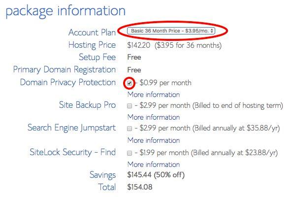 Choose web hosting package